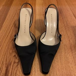 Martinez Valero Black Satin Heels